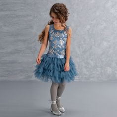 Kate Mack & Biscotti - Blue Tulle & Silver Sequin Dress | Childrensalon