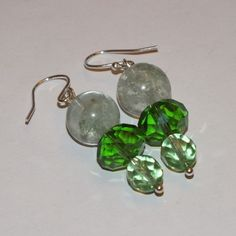 Sterling Silver And Green Moss Quartz Dangle Earrings