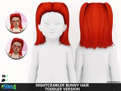 Redhead Sims CC | NIGHTCRAWLER BUNNY HAIR - TODDLER AND CHILD... The Sims 4 Kids, Sims 4 Children, Sims 4 Mods Clothes, Sims 4 Clothing, Toddler Hair Sims 4, Toddler Stuff, Sims 4 Anime, Sims 4 Black Hair, The Sims 4 Cabelos