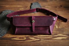 Belt bag, fanny pack, leather bag, handmade belt bag, belt bag for men, handmade leather bag, mens bag, womens bag, Standard Burgundy
