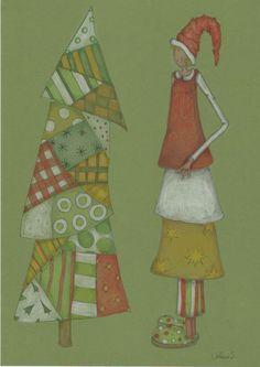 dessin draw coloriage Faber-Castell polychromos  Prismacolor Papier Bristol Mrs Pettycoat 15 winter hiver Noël Xmas