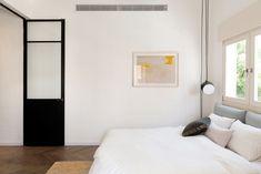 Bauhaus Apartment Redesign In Tel Aviv-Yafo, Israel Interior Bauhaus, Interior Architecture, Interior Design, Tel Aviv, Dark Blue Walls, Small Apartments, Stores, Minimalist Design, Living Spaces