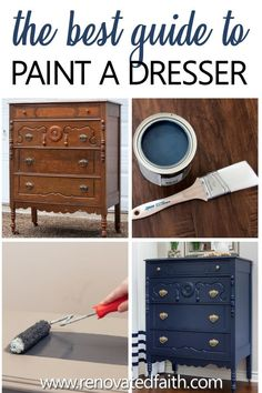 Painting with dark colors can be tricky! These 7 easy tips can save you time & money whether you are painting a dresser in your bedroom or living room furniture! I show what colors go with hale navy a Navy Furniture, Farmhouse Furniture, Colorful Furniture, Cool Furniture, Furniture Design, Barbie Furniture, Garden Furniture, Laminate Furniture, Diy Furniture Painting