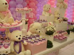 dicas para decorar festa infantil simples - Decoração de Ursos para Meninas