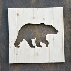 Bear Wood Silhouette Woodland Animal Cutout by SkipToothCreations on Etsy