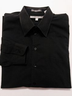 Perry Ellis - Men's Shirt XL 17 35 Gray Checked with Long Sleeves & Button Front…