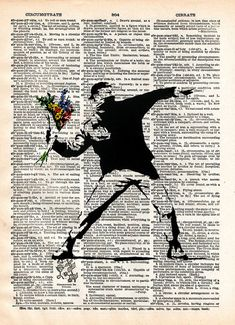 Banksy Flower Bomber street art vintage dictionary page by Loft817, $7.99