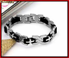 Mooie Armband zilverkleurige schakels met zwarte siliconen tussen schakels - Cheappy