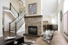 The Riverside - cultured stone fireplace