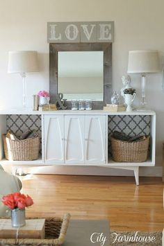 Decorating With Mirrors, living room storage