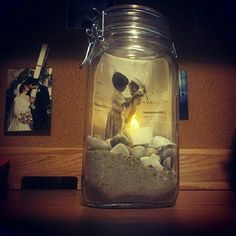 Another great Mason Jar idea. Honeymoon picture with our found shells??