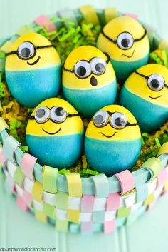 We cannot get enough of these Dyed Minion Easter Eggs from A Pumpkin And A Princess using PAAS egg dye.