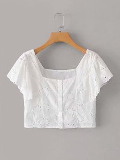 To find out about the Butterfly Sleeve Schiffy Crop Top at SHEIN, part of our latest Blouses ready to shop online today! Cropped Tops, Crop Top Outfits, Cute Outfits, Fashion News, Fashion Outfits, Womens Fashion, Summer Shirts, White Style, Types Of Sleeves