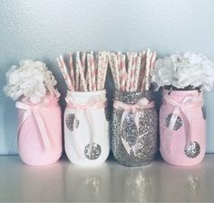 Pink and Silver Baby Shower Decorations, Baby Shower Decorations, Pink and Silver Centerpeices, Pink and Silver Birthday, Glitter Mason Jar Pot Mason Diy, Mason Jar Crafts, Bottle Crafts, Diy Bottle, Pots Mason, Pink Mason Jars, Glitter Mason Jars, Painted Mason Jars, Diy Home Crafts