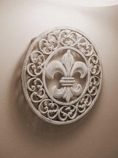 Wrought Iron Fleur de lis wall plaque by bornagainfurnituremb, $12.00