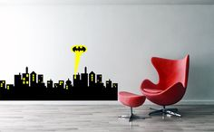 Gothan city skyline batman decalcastle batman wall by Sxixm
