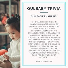 Qulbaby Trivia: Our Babies Name Us. Baby Trivia, Trivia Facts, Syllable, Coincidences, Baby Names, Babies, Mom, Kids, Young Children