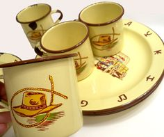 "Vintage Western Cowboy Cowgirl Enamelware Cups and 10"" Plates 8 pieces total by Monterrey Western Ware. #TheJunkPost"