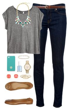 """""""Bejeweled"""" by classically-preppy ❤ liked on Polyvore featuring J Brand, Lauren Ralph Lauren, H&M, J.Crew, Tory Burch, Kate Spade, Essie and Blue Nile"""