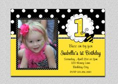 Bumble Bee Birthday Invitation Bumble Bee by TheTrendyButterfly, $15.00