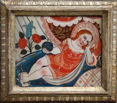 Jesusknabe Hinterglasmalerei. 34 x 39 cm. R. Descrizione: Jesusknabe Hinterglasmalerei. 34 x 39 cm. R.
