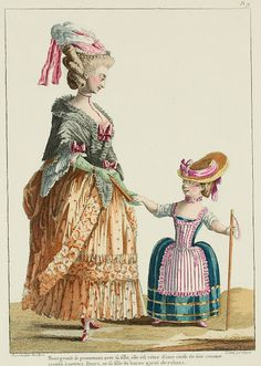 "A Most Beguiling Accomplishment: Galerie des Modes, 8e Cahier, 3e Figure (1778). Caption & long description translated by @Cassidy. ""Bourgeoise walking with her daughter, she is dressed in a silk dotted with little flowers, and her daughter in buras trimmed with ribbons... Bourgeoise walking with her daughter; she is wearing an informal gown and petticoat of the same material, pulled up at the sides with cord or gold braid.* Trimming in two rows of poufs; volant very high, in regular pleats...."