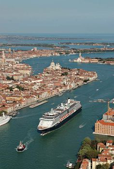 Holland America Line sailing into Venice, loved all the amazing views of the canals! Ocean Cruise, Cruise Port, Caribbean Cruise, Cruise Travel, Cruise Vacation, Cruise Ships, Travel Europe, Holland America Cruises, Holland America Line
