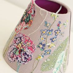 Hand Embroidered Lampshade Workshop with Marna Lunt - product images of Free Machine Embroidery, Embroidery Applique, Embroidery Stitches, Embroidery Ideas, Bedroom Lampshade, Lampshade Ideas, Textiles Techniques, Hobbies And Crafts, Fabric Art