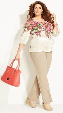 Plus Size Spring Floral Outfit Floral around the face and none around the middle
