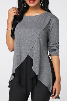 Stylish Tops For Girls, Trendy Tops, Trendy Fashion Tops, Trendy Tops For Women Sewing Blouses, Chiffon, Trendy Tops For Women, Grey Blouse, Grey Outfit, Blouse Designs, Casual Outfits, Fashion Dresses, Clothes