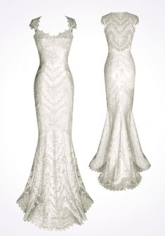 Claire Pettibone hand-beaded white-off lace mermaid wedding dress with illusion lace sheer back and sweetheart neckline. Chic lace back, cap sleeves wedding dress