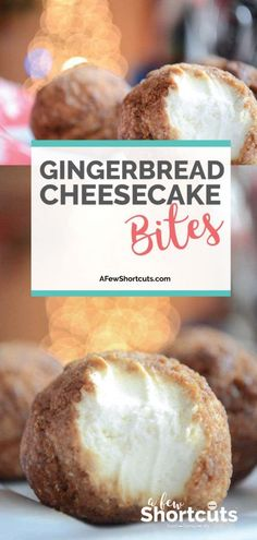 Gingerbread Cheesecake Bites The perfect holiday freezer dessert. This Gingerbread Cheesecake Bites Recipe is just DELIGHTFUL and so easy to make! Freezer Desserts, Fun Desserts, Delicious Desserts, Dessert Recipes, Yummy Recipes, Yummy Food, Christmas Desserts, Christmas Baking, Christmas Goodies