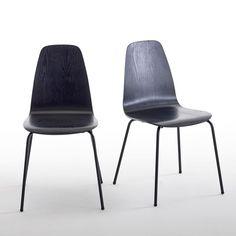 Les 2 chaises Biface : une petite touche vintage que l'on aime retrouver dans la salle à manger, la chambre ou la cuisine.Pour un gain de place appréciable, les chaises Biface sont empilables. Caractéristiques des chaises Biface :Assise en multiplis   d'hévéa replaqué frêne et laqué noir   finition nitrocellulosique : les veines du bois restent légèrement perceptibles.Pieds en tubes d'acier laqué noir, finition époxy. Retrouvez la collection Biface sur laredoute.fr.Dimensions des chaises…