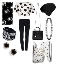 """Black and white"" by blkleynen on Polyvore featuring Être Cécile, Keds, Yves Saint Laurent, Casetify and Kate Spade"