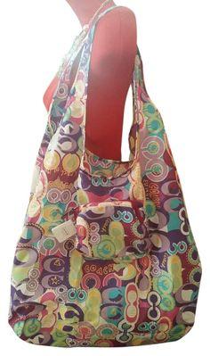 Bnwt Folding Pop Tote C F62112 Multi Pink Nylon Shoulder Bag afcfe39cb65e6