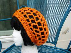 Crochet Mesh hat Handmade In Tangerine - Orange Crochet hat - Mesh Hat