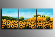 100% Hand painted Golden sunflower slope Abstract landscape Wall home Decor Oil Painting on canvas 3pcs/set mixorde Framed(China (Mainland))