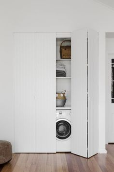 Discover the best doors for your small laundry alcove — Verity Jayne Neat and stylish bifold doors using VJ style panels, hiding a laundry. Laundry Cupboard, Utility Cupboard, Laundry Room Doors, Laundry Closet, Small Laundry Rooms, Laundry Room Storage, Laundry In Bathroom, Basement Laundry, Laundry In Kitchen
