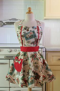 Retro Christmas Apron with Fairies on White by Boojiboo on Etsy, $28.75