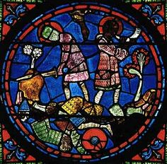 13th Century Stained Glass Roundel from Chartres Cathedral, showing Roland Attempting to Break Durendal and Blowing His Olifant
