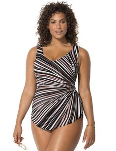 9e64f4748a Fashion Bug Women s Plus Size Striped Sarong Front One Piece Swimsuit 24  Neutral www.fashionbug