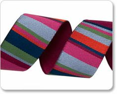 Pink and Blue Roman Stripes Ribbon - Kaffe Fassett