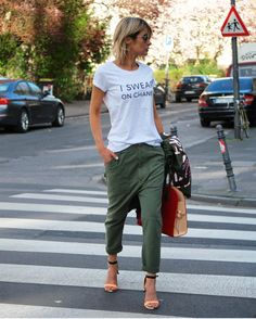 Relaxed pants. Also cute with a white sneaker so you can still run around.