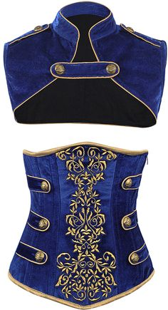 Amazing gold embroidery on the rich blue background makes a striking contrast, and the side straps and buttons add a serious military vibe. Wear with the jacket or without! The Violet Vixen - Royal Guard Blue Corset, $141.00 (http://thevioletvixen.com/authentic-corsets/royal-guard-blue-corset/) blue velvet gold embroidery military cosplay royal guard steel boned authentic corset