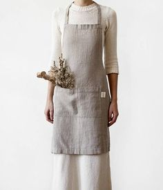 Natural Linen Kitchen Apron with Pockets / Rustic Apron / Linen Apron / Kitchen Apron / Handmade.