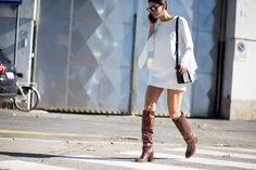 chocolate boots with white dress