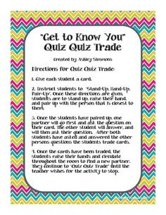 Chevron Get to Know You Cards- Quiz Quiz Trade Great Beginning of the Year Activity! School Jobs, 1st Day Of School, Beginning Of The School Year, School Classroom, Classroom Setup, Cooperative Learning Strategies, Cooperative Games, Instructional Strategies, Classroom Community