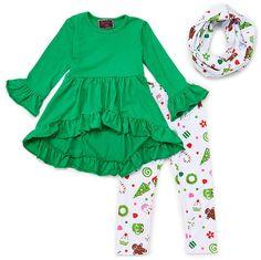 eea77b795dedc Green Ruffle Tunic & White Leggings Set - Infant, Toddler & Girls White  Leggings,