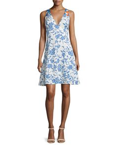 Sleeveless Floral Ribbed A-Line Dress, Blue/White by Tanya Taylor at Neiman Marcus.