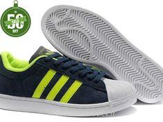 Official Hommes Chaussures Vert Bleu Adidas Superstar II Marine (Sacoche Adidas Pas Cher)